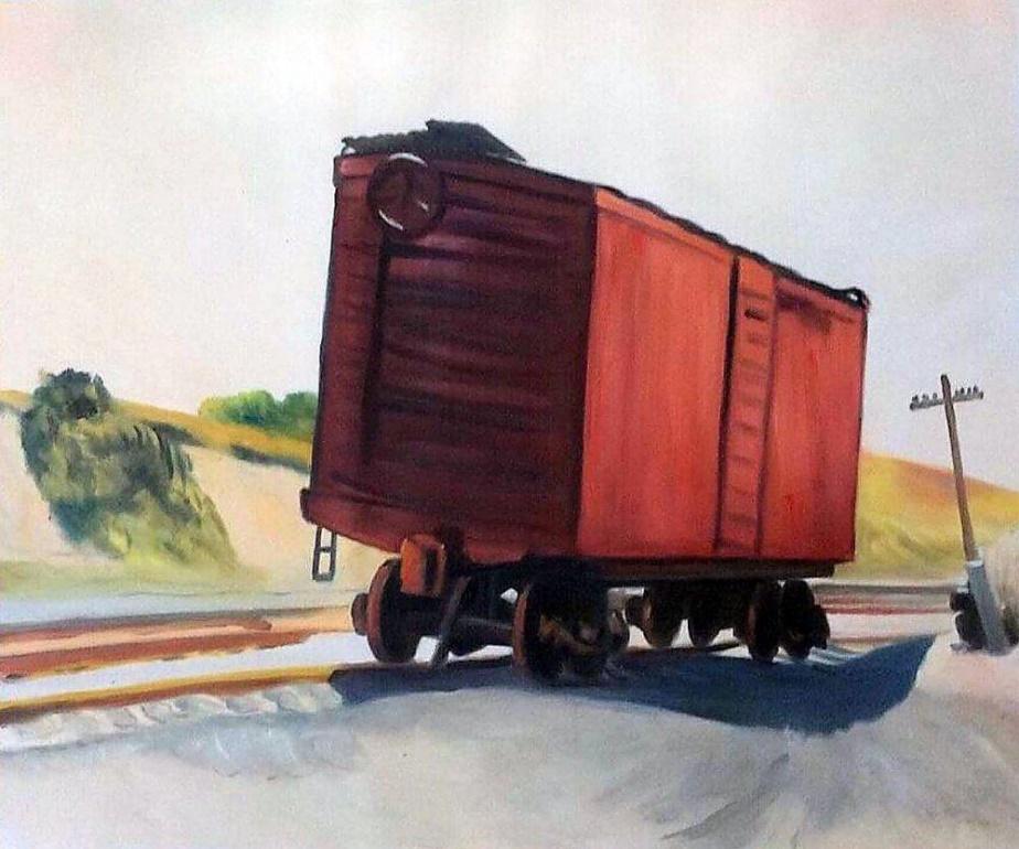 Freight Car at Truro, 1931.g.; autor: Edward Hopper